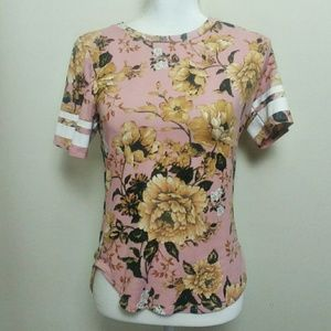 Heart & Hips Floral Short Sleeve Baseball Tee